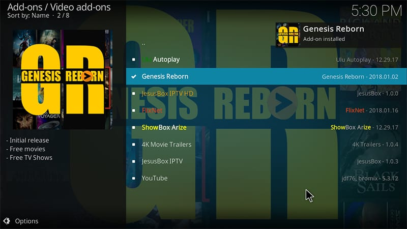 genesis reborn install notification kodi