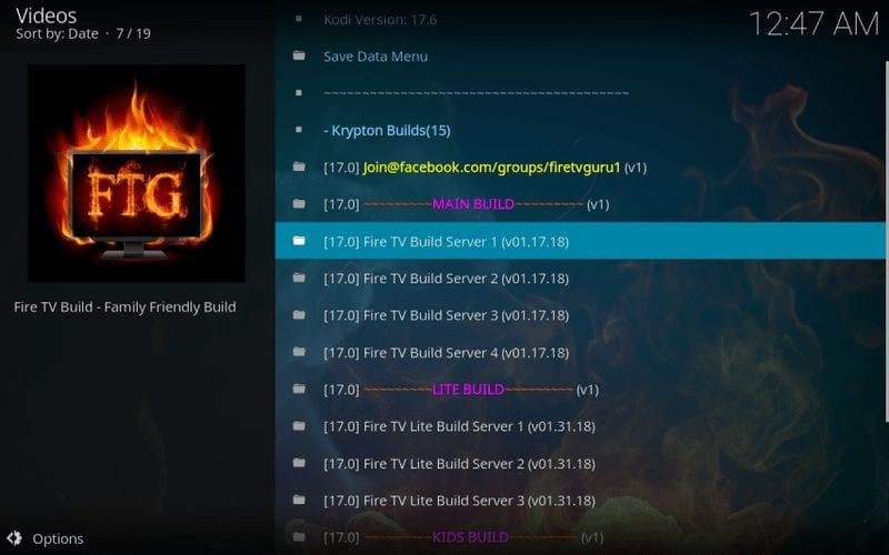 select fire tv guru main build or lite build