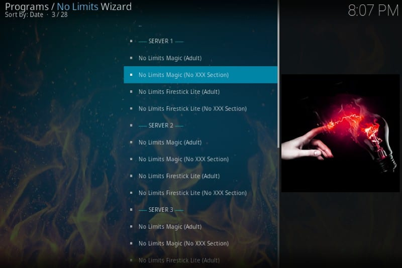no limits kodi build list