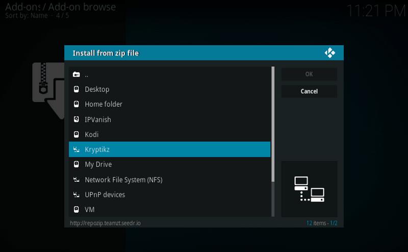 Kryptikz ZT Kodi Build zip file installation