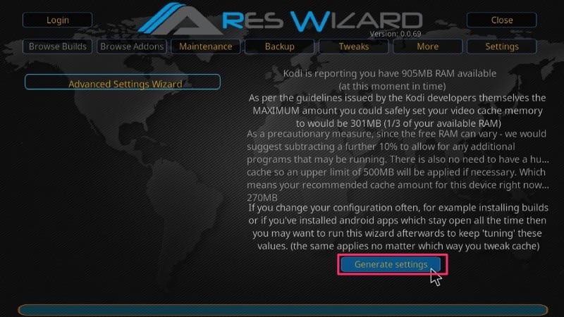 ares wizard advanced settings to optimize kodi cache