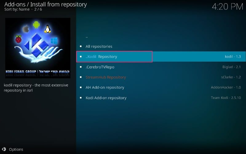 open kodil repository on kodi