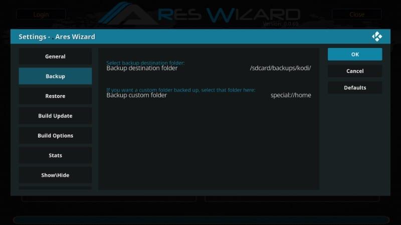 kodi backup folder