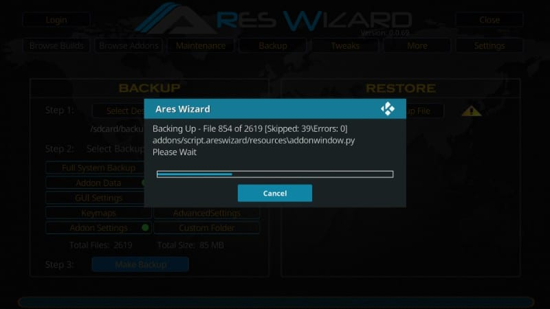 backup kodi with ares wizard