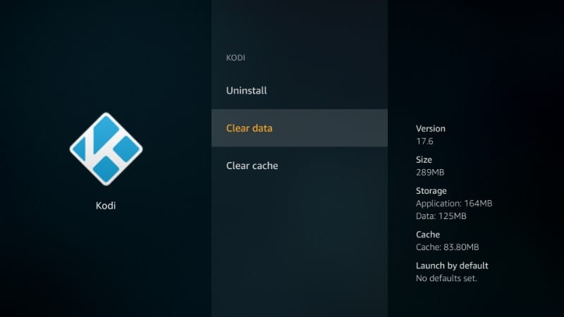 how to clear Data on Kodi for firestick