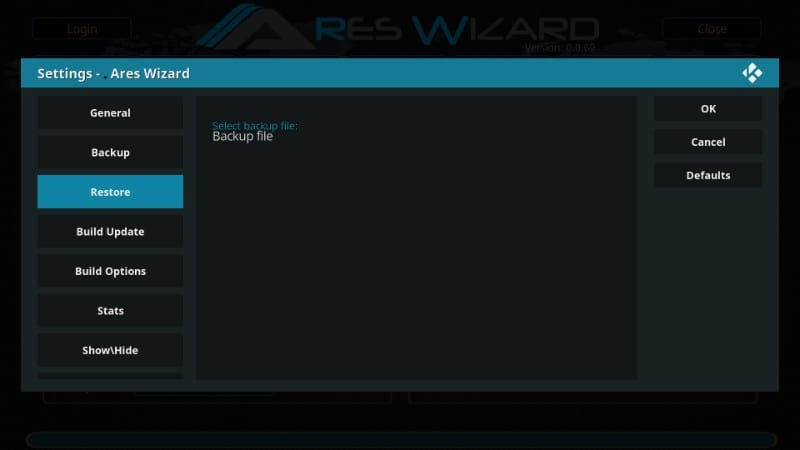 how to restore kodi data backup after resetting