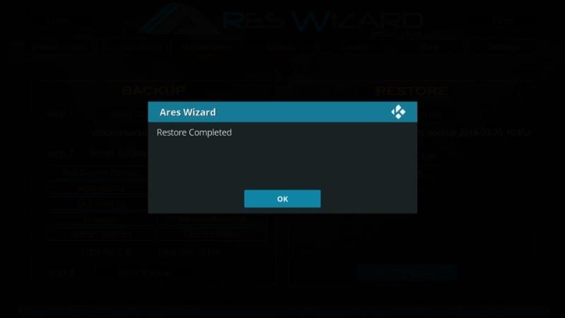 how to restore kodi backup with ares wizard