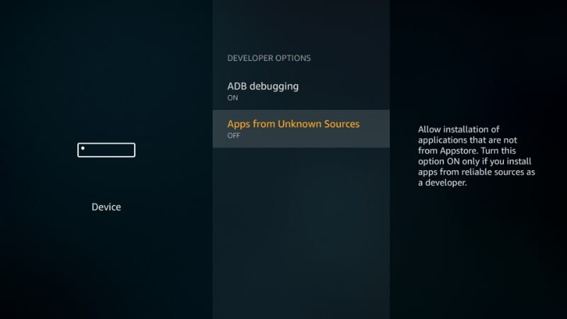 enable unknown sources firestick