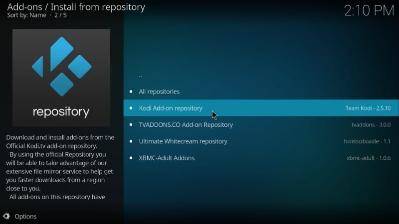 official kodi addon repository