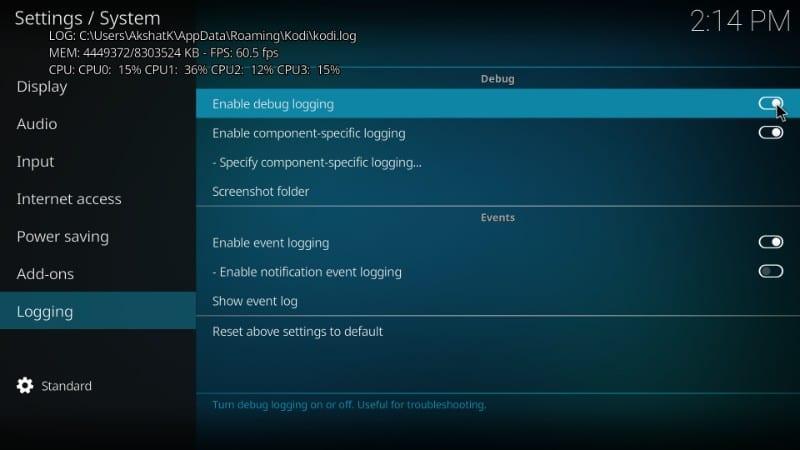 kodi error log file location