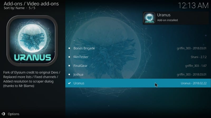 uranus kodi addon installed