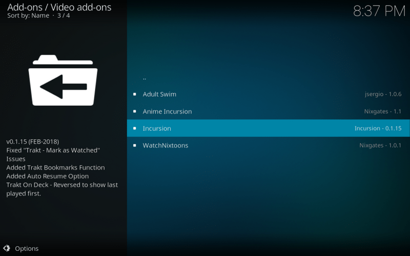 install incursion kodi addon