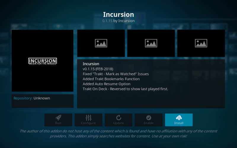 how to install incursion on kodi