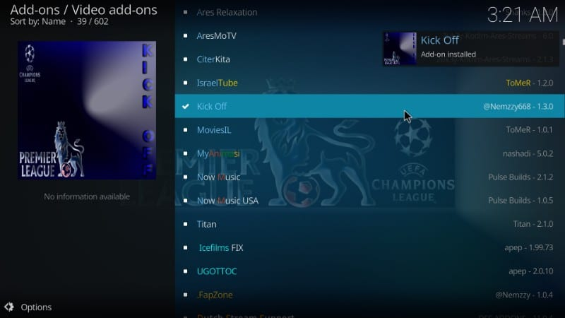 kick off kodi addon installed