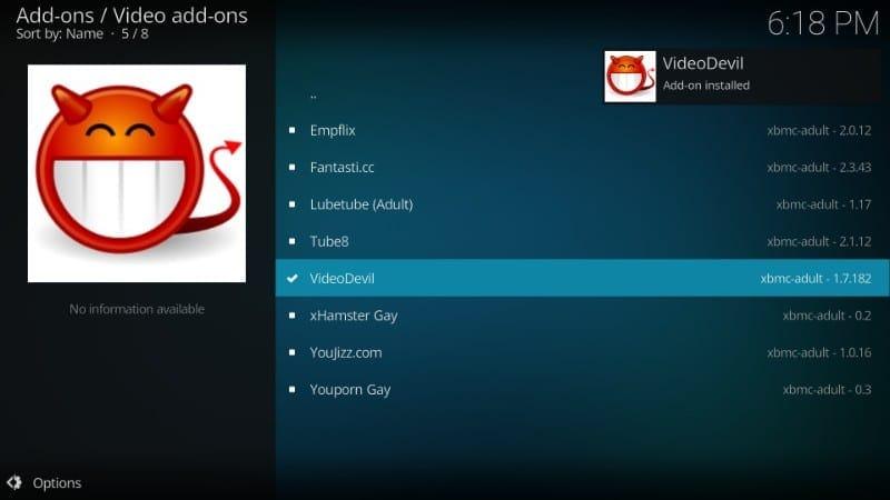 videodevil adult addon installed on kodi 18 / kodi 17.6