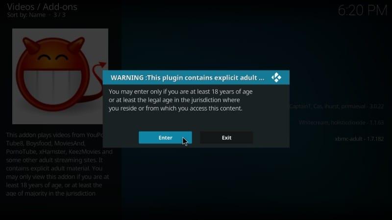 videodevil adult age warning : kodi 18 leia and kodi 17.6 krypton