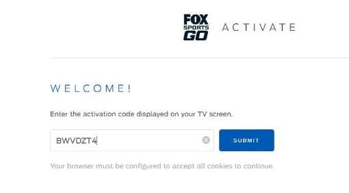 fox sports go activation code