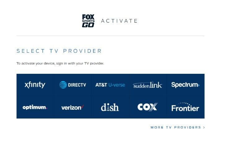 fox sports go cable providers