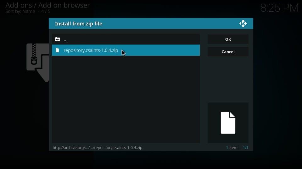 install repository on kodi