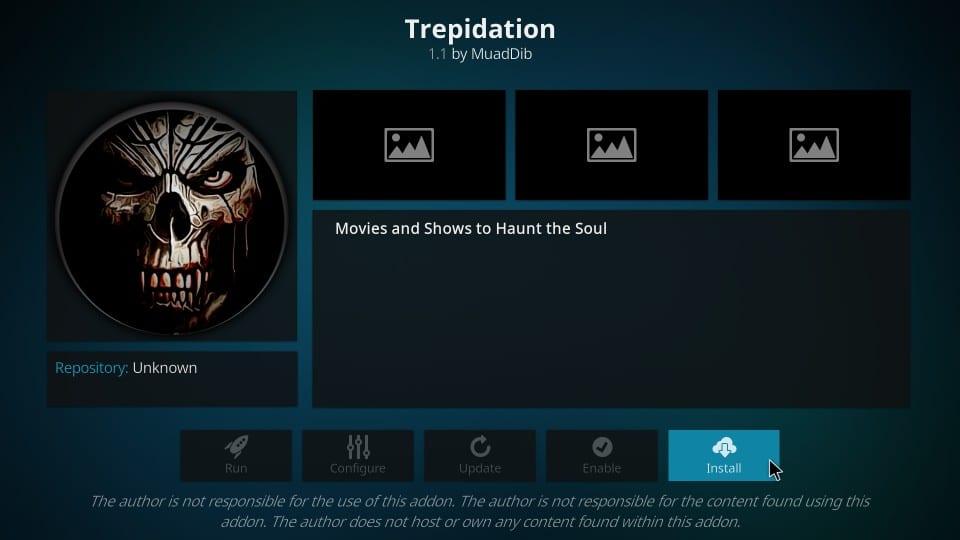 how to install Trepidation on kodi