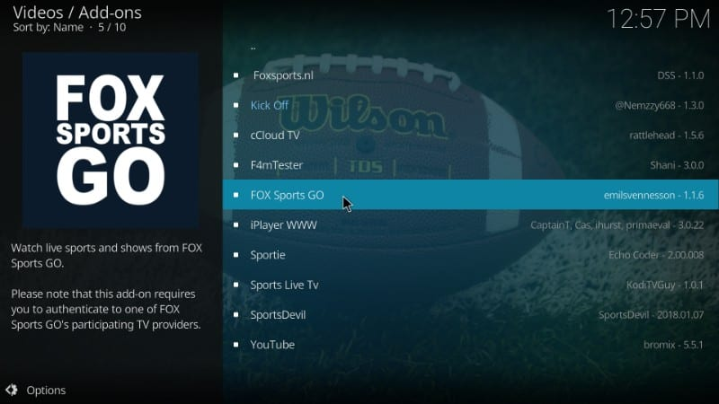 how to install fox sports go kodi addon