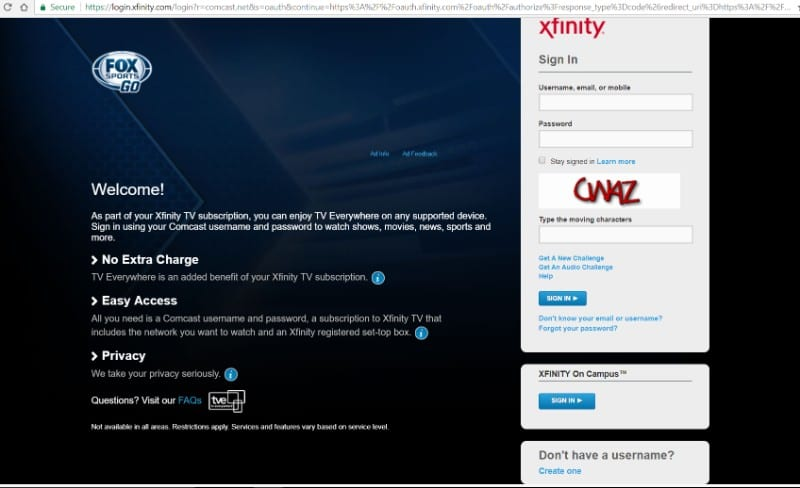 activate fox sports go with xfinity cable