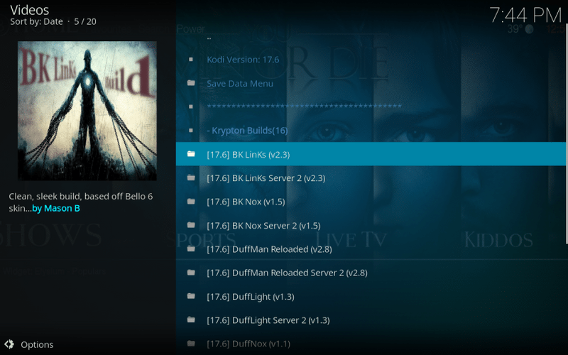 install bk links build on kodi