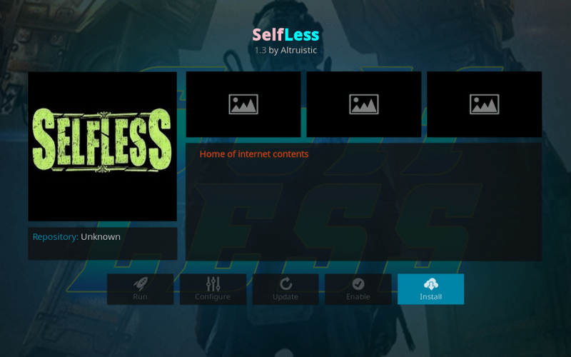 steps to install selfless on kodi