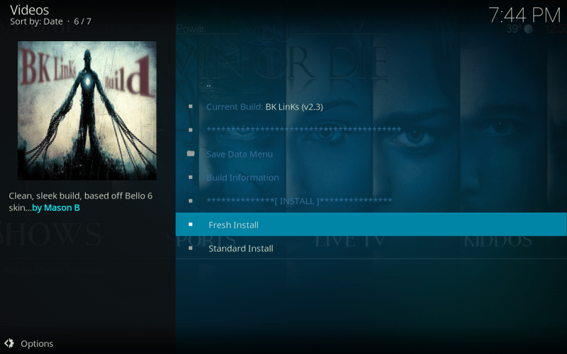 fresh install bk links build on kodi