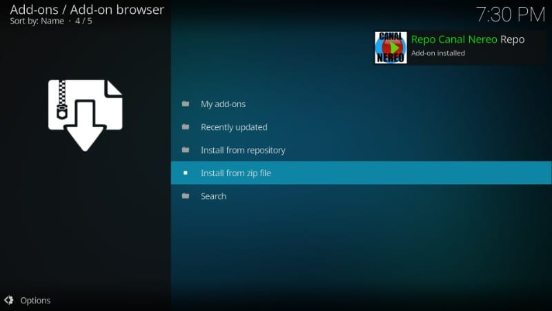 canal repo installed on kodi
