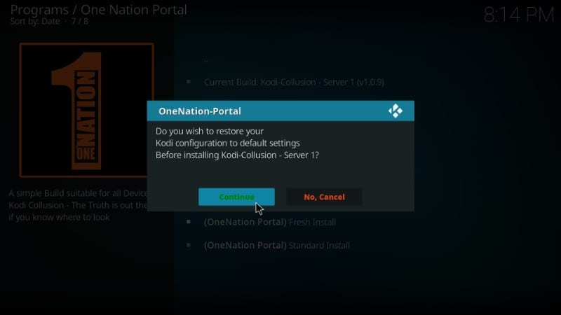 restore kodi for build installation