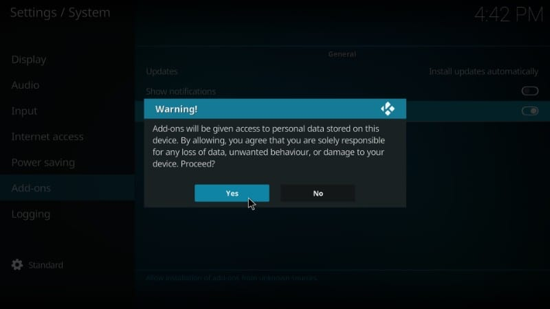 allow unknown sources to install redemption kodi addon