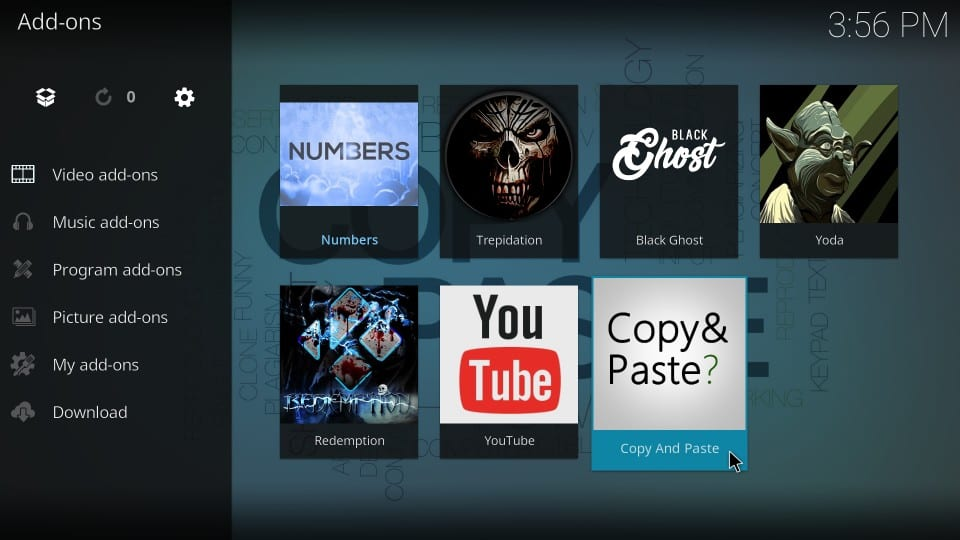 how to use copy and paste addon on kodi