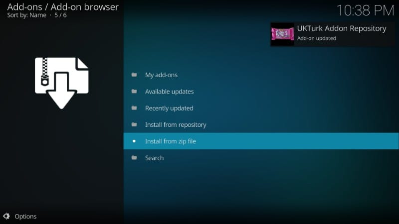 uk turk addon for kodi repository install notification