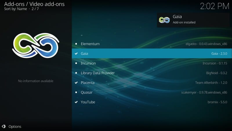 how to use Gaia kodi addon