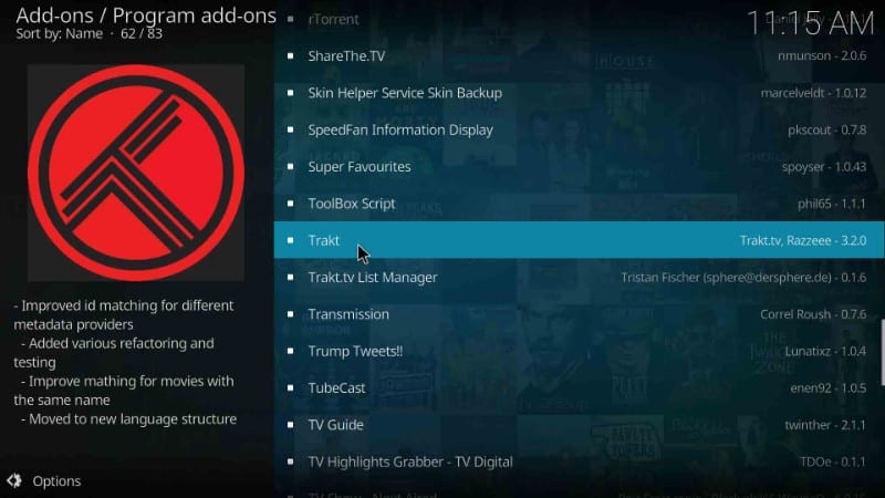 how to get trakt on kodi