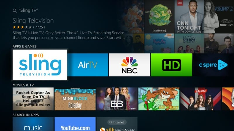 how to get sling tv on firestick