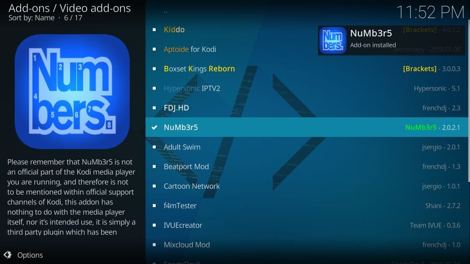 numbers kodi addon installation guide