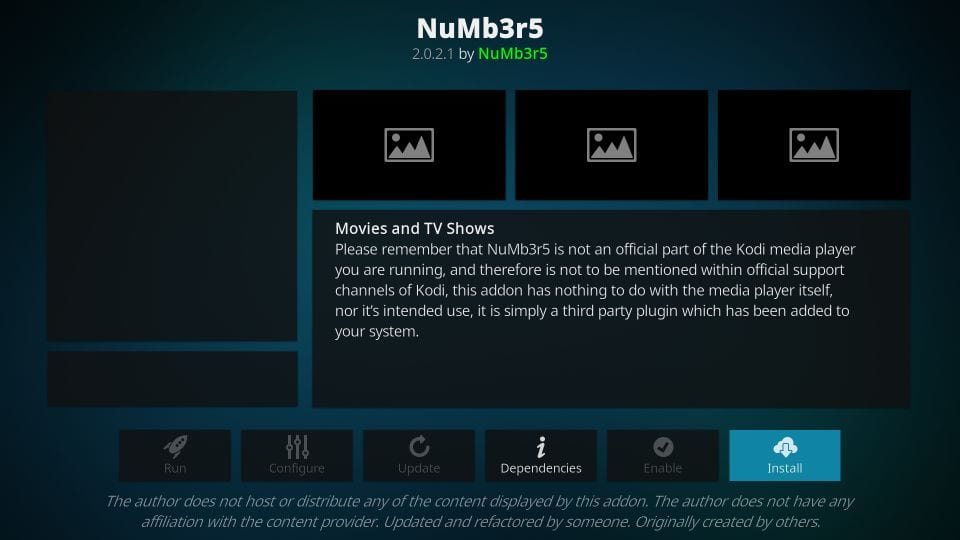 how to install numbers kodi addon