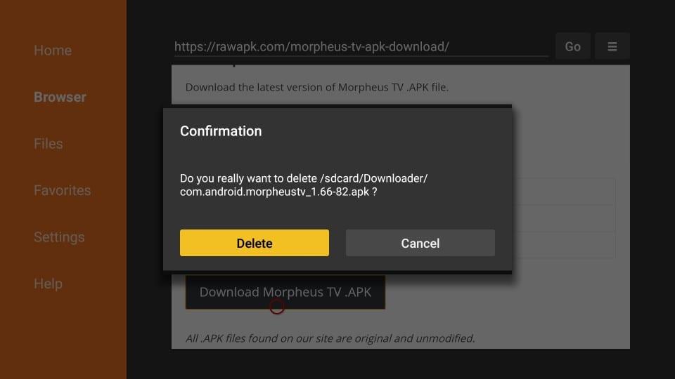 delete morpheus tv apk from firestick