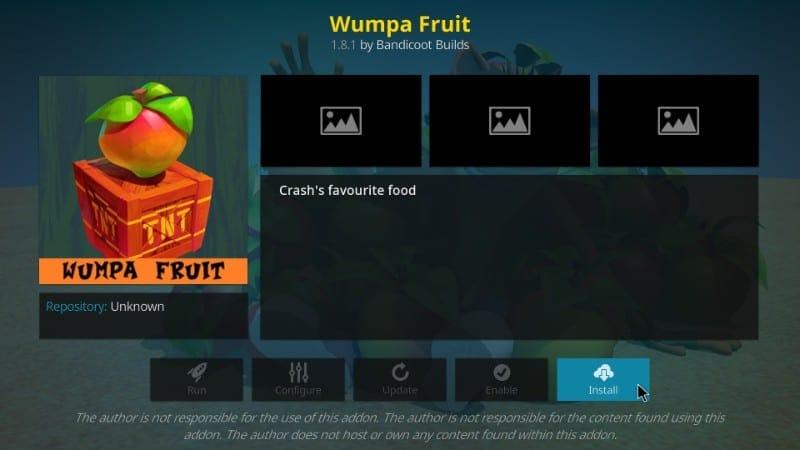 how to install wumpa fruit kodi addon