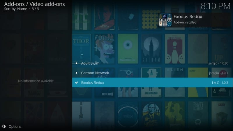 whats on kodi exodus