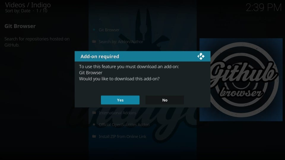 git browser kodi