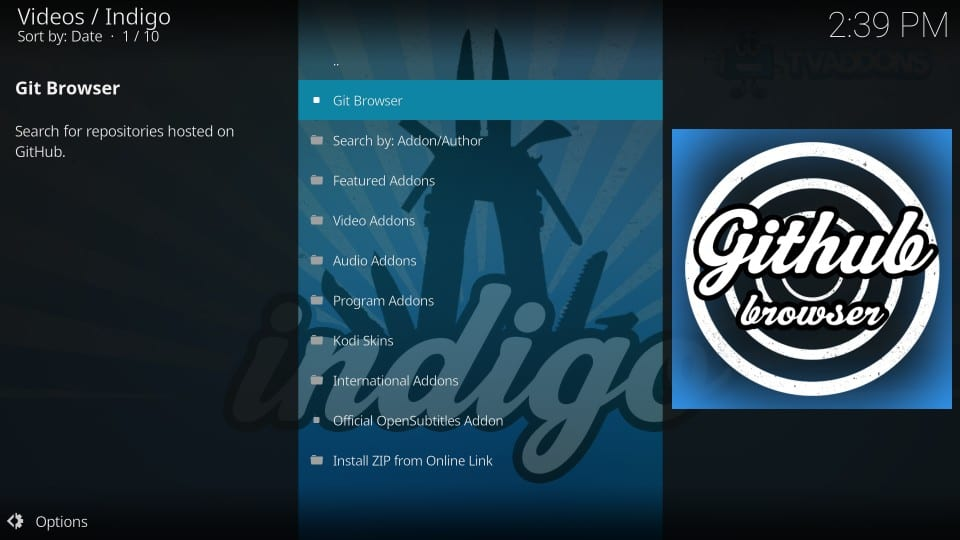 git browser kodi addon