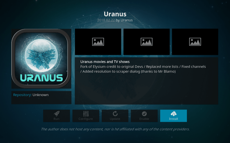 how to install uranus on kodi