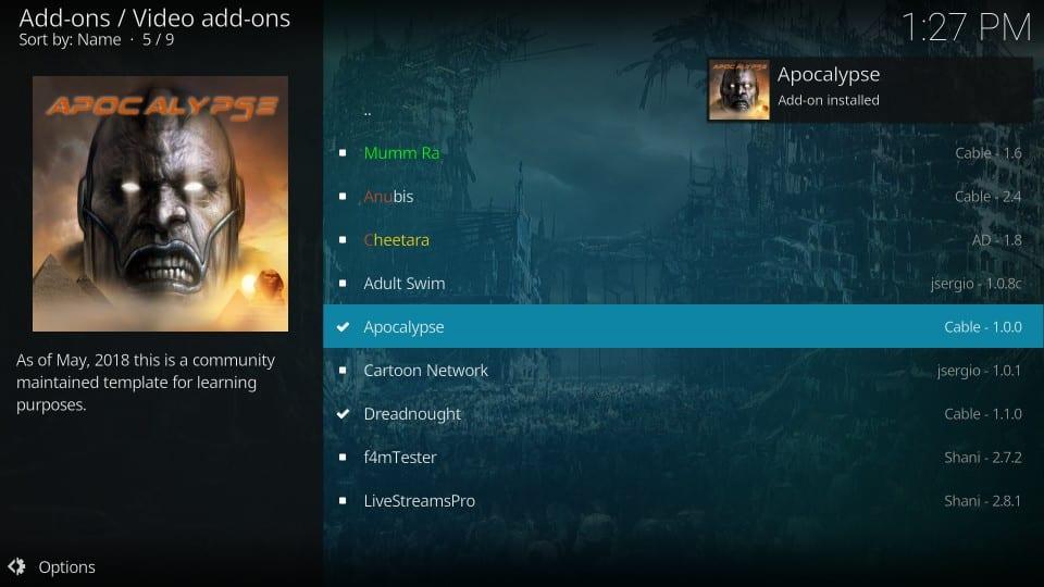 apocalypse addon installed