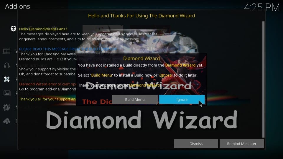 steps to install diamond dust kodi build