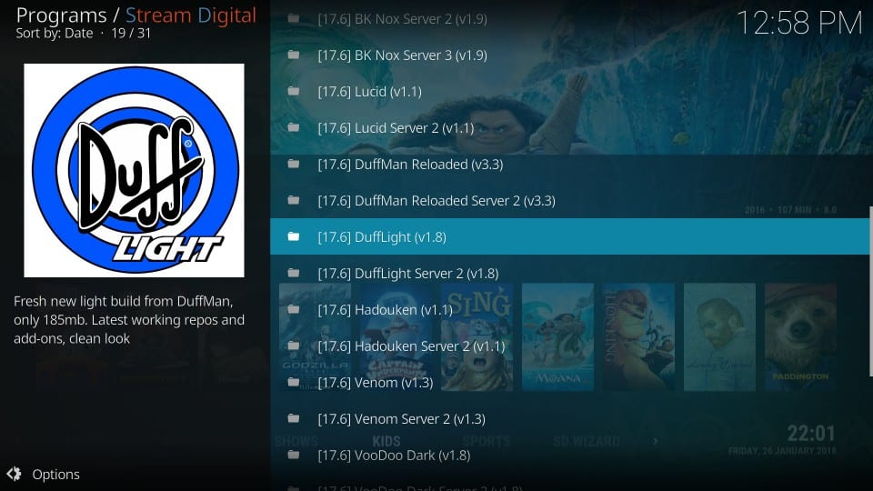 how to install duff light kodi build