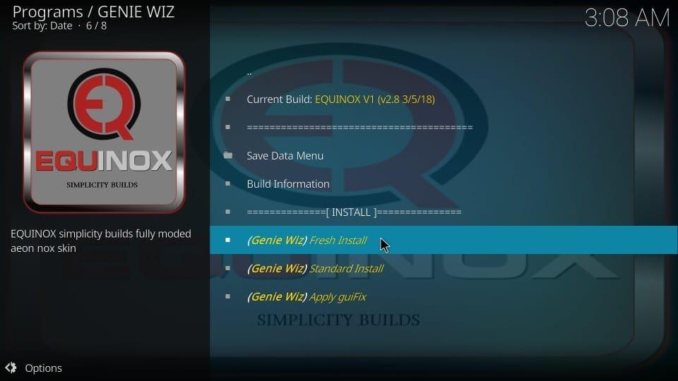 fresh install equinox kodi build