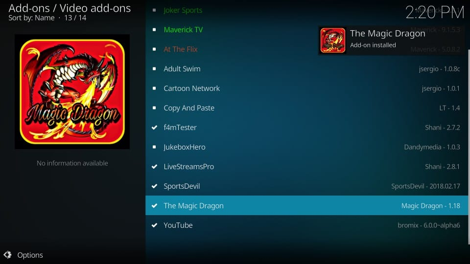 addon installed on kodi